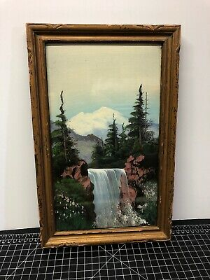 Original Oil Painting Painted By J.A. Speer - Colorado Landscape Waterfall 7x13""