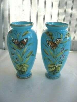 """PAIR Handpainted French Blue Opaline Glass Vases BUTTERFLIES Flowers 8 1/2"""""""