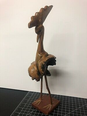 """Vintage Hand Carved Wooden Tree Branch Peacock Rooster Bird Sculpture 14.5"""""""