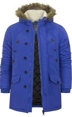 Mens Brave Soul Padded Lined Winter Jacket Faux Fur Hooded Coat Blue  Size M