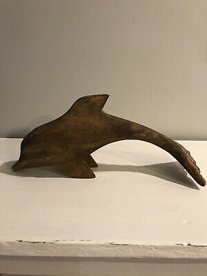 Vintage Hand Carved Wooden Dolphin Statue Sculpture Wood Home Decor