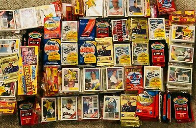GIANT Lot of 100 Unopened Old Vintage Baseball Cards -Wax Cello Rack Packs Topps
