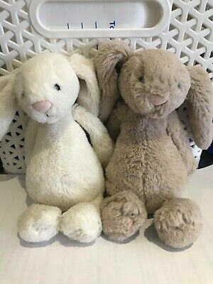 2 x JELLY CAT  Bunny Rabbit white &brown Cuddly Toy Suitable From Birth - AS NEW