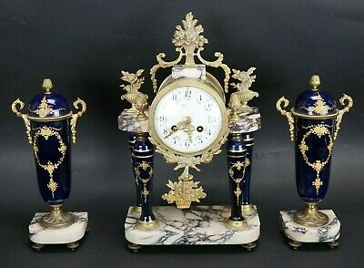 Antique French F. Marti Porcelain Marble Clock with Urns