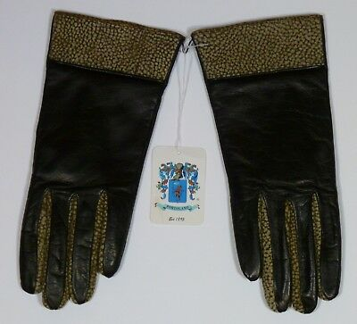 Womens PORTOLANO Gloves Genuine Leather Size 7 1/2 NWT, Brown with Animal Print
