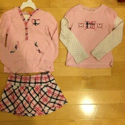 Girls 3pc Set SONOMA life + style Hooded Henley/Top & Skirt Pink Plaid Size 5 6