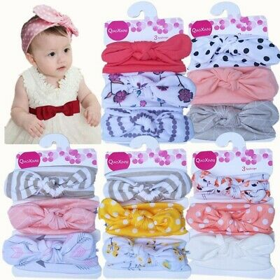 3Pcs Bowknot Newborn Toddler Baby Girl Hairband Cotton Headband Hair Accessory