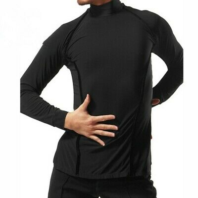 Mens Black Fitted Latin Long Sleeve Turtleneck Dance Top - 2 sizes available