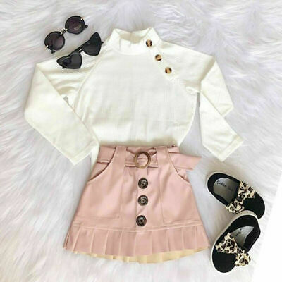 2pcs Toddler Kids Baby Girl Clothes Set Tops T Shirt Mini Skirts Outfit Party UK