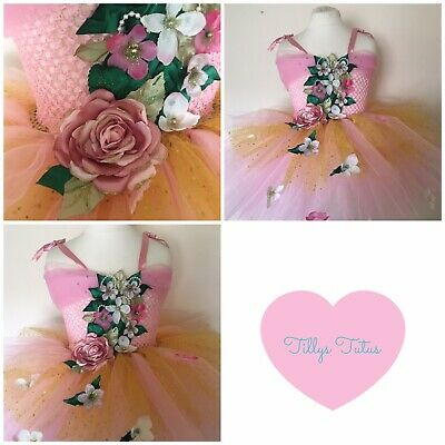 Pink And Gold Flower Fairy Tutu Dress