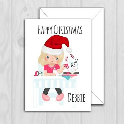 PERSONALISED CARD christmas Crafting craft DIFF HAIR COLOUR STYLE hobby