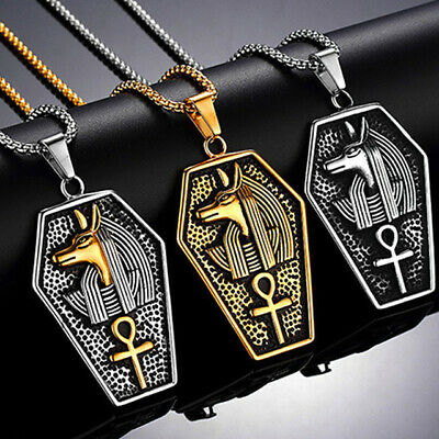 Anubis Necklace Pendant Gold Charm Egyptian Ancient For Men Women Silver Egypt