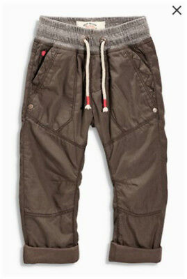 Bnwt Next Brown Lined Pull-On Trousers, Size 2-3 Years