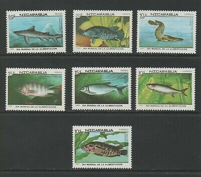 Thematic Stamps Animals - NICARAGUA 1987 FOOD FISH 2917/23 7v mint