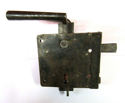 Original Antique Case Lock with Handles and Shield from 1890 Iron Sheet
