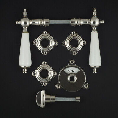 Toilet Bathroom Rosette Fitting Door Handle Grip Nickel Polished Porcelain Jcb