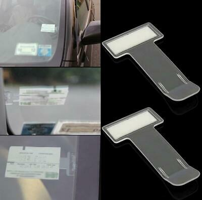 AutoPower 2x Car Parking Ticket Permit Transparent Self-Adhesive Holder Windscreen Clips