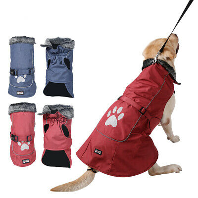SMALL to EXTRA LARGE Dog Pet Waterproof Rain Coat Warm Jacket Clothes Winter