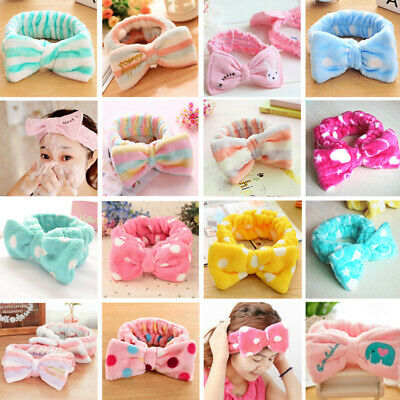 Women Girls Bow Knot Hair Band Headband Soft Cute Head Wrap Towel Make Up Face