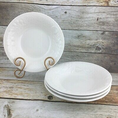 "GIBSON FRUIT ALL WHITE White Embossed Fruit Round 8"" Soup Cereal Bowls Set 4"