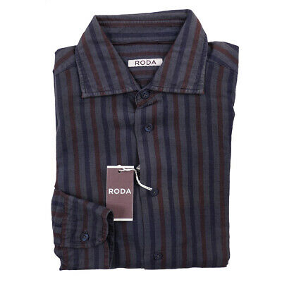 New $275 RODA Slim-Fit Gray-Navy-Burgundy Stripe Linen-Cotton Shirt 15.75
