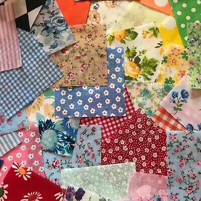 CLEARANCE 5x5 inch. FABRIC SCRAPS.30 PIECE OFFCUTS.BUNDLE OF MIXED  POLYCOTTON.