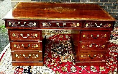 Spectacular Syrian Brass Inlaid Rosewood Desk & Chair.... For A Nhs Nurses Fund