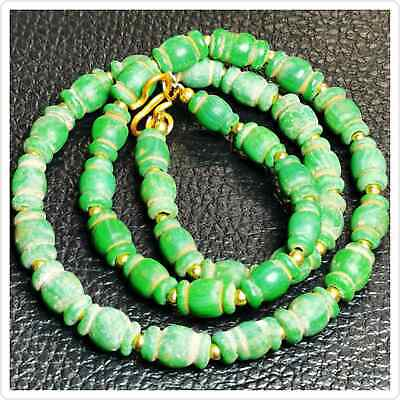 Lovely Necklace Ancient Roman Glass Green Beads Necklace     # 97