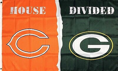 Chicago Bears vs Green Bay Packers House Divided Flag 3x5 ft Sports Banner NFL