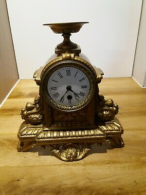 Antique Vintage pre 1900 Cast Iron Clock in working order