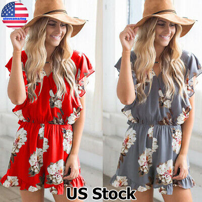 Womens Boho Floral Playsuit Romper Ladies Summer Party Casual Shorts Jumpsuit US