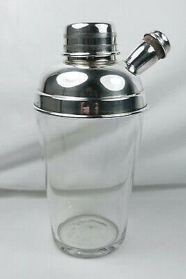 1930'S Art Deco English Silver Plated & Glass Cocktail Shaker