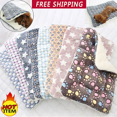 Warm Pet Mat Small Large Paw Print Bed Blanket Soft Puppy Dog Cat Cushion Pillow
