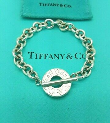 """Tiffany & Co Sterling Silver 1837 Circle Toggle Charm 7.5"""" Bracelet, Hallmarked"""