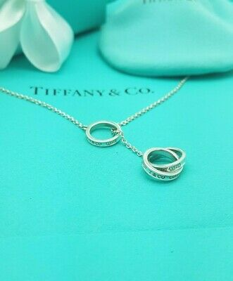 """Tiffany & Co 1837 Sterling Silver 3 Interlocking Circles Lariat Necklace 18"""""""