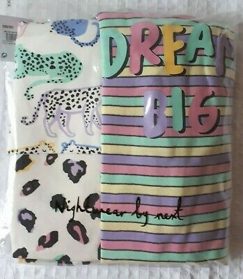 BNWT Next Girls 4-5 Years Snuggle Fit Pyjamas with Leopard, Multicolour Design