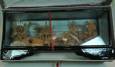 Vintage Chinese Cork Carved Diorama In Glass Black Laquered Wood Case in Box