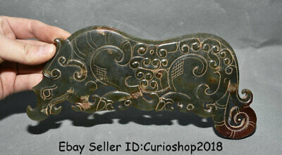 "8"" China Han Dynasty Hetian Old Jade Carved Dynasty Animal Tiger Beast Zun ""Bi"""