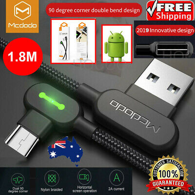 1.8M Elbow 90 Braided Micro USB Charger Cable Fast For Mobile Android Samsung LG