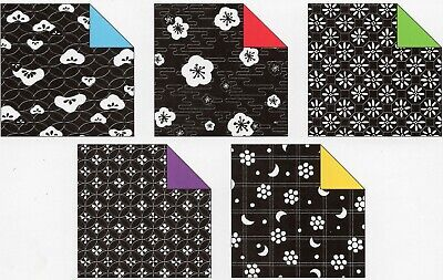20pc Flower B&W Coloured Back Origami Craft Paper, 2 sizes 7.5cm or 15cm
