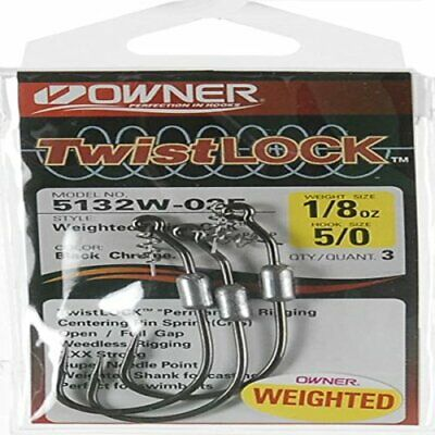 2 PACKS OF Owner Twistlock Weighted Bass Hook 3//0 1//16oz 3 PER PACK 5132W-013