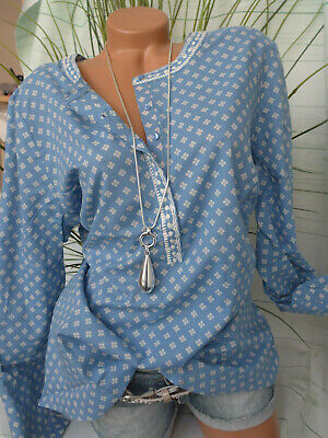 Sheego Long Bluse Tunika Kleid Shirt Gr 40-50 Blau weiß gemustert NEU 898
