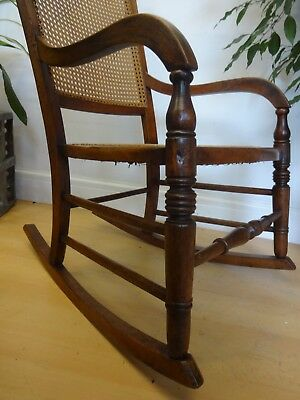 Lovely Cane Seat Wooden French Rocking Chair