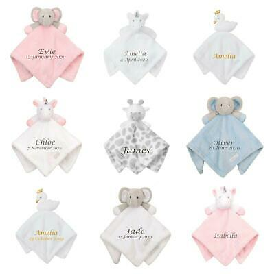 PERSONALISED Baby Comfort Blanket Ideal Baby Shower Gift Add Name and Birthday