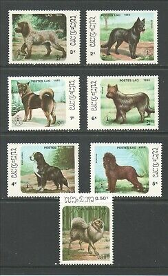 Thematic Stamps Animals - LAOS 1986 DOGS 930/6 7v mint