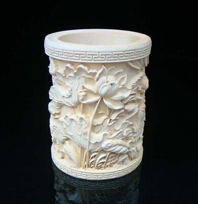 Chinese exquisite Handmade Carving Statue wood Boxwood Brush Pot Lotus Fish