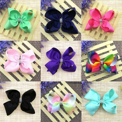 Girl Rainbow Solid Color Bow Hairpin Large Grosgrain Ribbon Bowknot Hair Clip