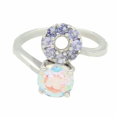 Sterling Silver Moonlight Topaz & Iolite Cluster Ring (Size J) 14mm Widest