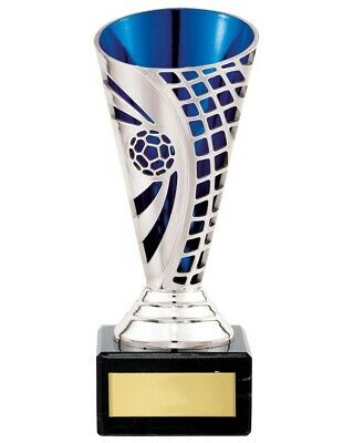 Football Awards Silver/Blue Defender Cup Trophy Trophies 3 sizes FREE Engraving