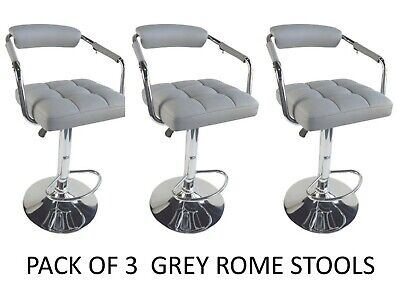 3 X Rome  Grey Padded Plush Gas Swivel Breakfast Bar Kitchen Bar Stools ROME
